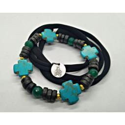 """Bracelet """"GREEN"""" Cross x4"""